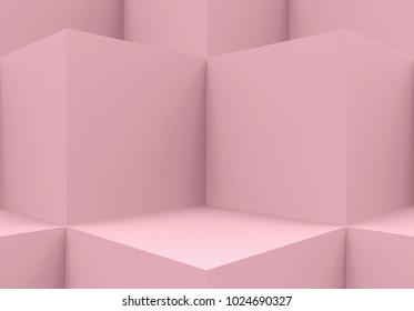 3d rendering. Abstract Pink cube boxes corner wall background.