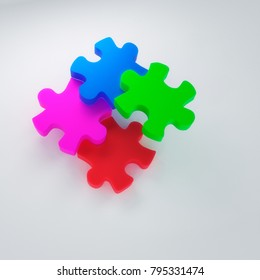 3D rendering of abstract puzzle blocks