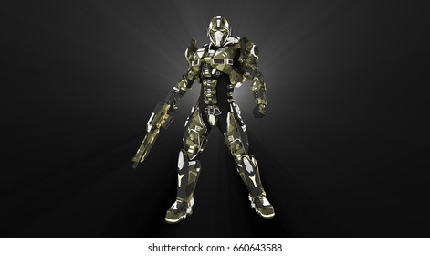 3d rendering of advanced super soldier