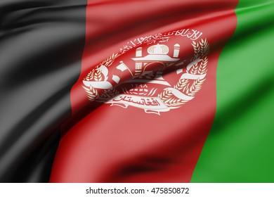 3d rendering of an Afghanistan flag waving