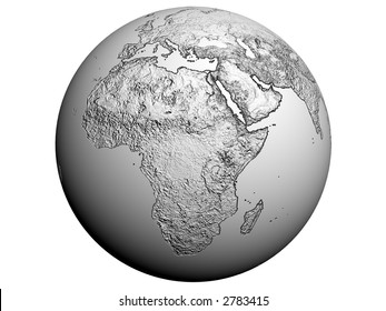 3D rendering of africa on a white earth globe