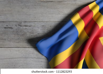 3d rendering of Aland Islands flag over a wooden surface