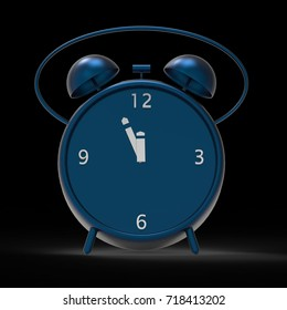 3d rendering of The alarm clock with little minutes to twelve o'clock