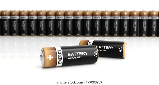 3d rendering alkaline batteries on white background
