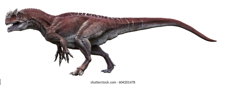 3D rendering of Allosaurus walking, isolated on white background.