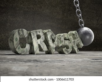 3D rendering of American Dollar CRASH word being hit by wrecking ball