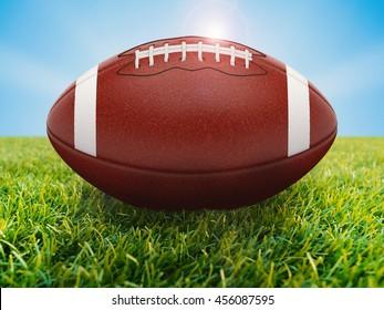 3d rendering american football ball on green field