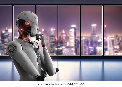 3d rendering android robot thinking in office