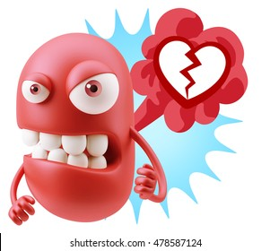3d Rendering Angry Character Emoji saying Heart Broken Icon with Colorful Speech Bubble.