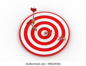 3d rendering of Arrow hitting the target board