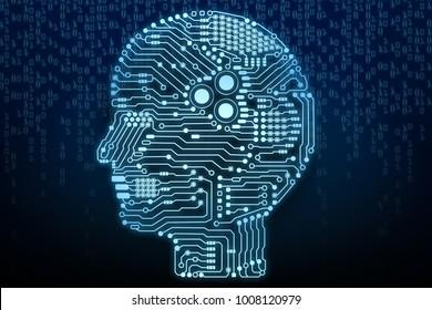 3d rendering artificial intelligence brain or circuit board in head shape side view