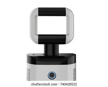 3d rendering assistant robot with empty screen on white background
