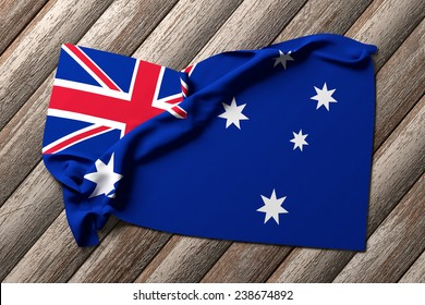 3d rendering of an australian flag on a wooden table