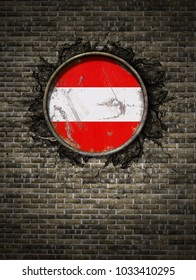 3d rendering of an Austria flag over a rusty metallic plate embedded on an old brick wall