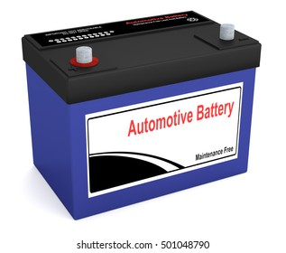 3D rendering of an automotive battery