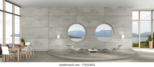 3D rendering of avant-garde architecture living and dining room with view to the sea, fair-faced concrete wall and round windows