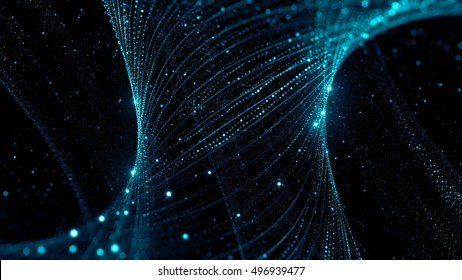 3d rendering background with twisted particle strings. Dark digital abstract background. Beautiful glowing concept form.