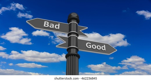 3D rendering of bad and good indicators on signpost against of sky