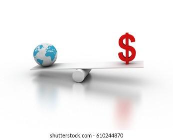3d rendering balancing  Dollar with globe