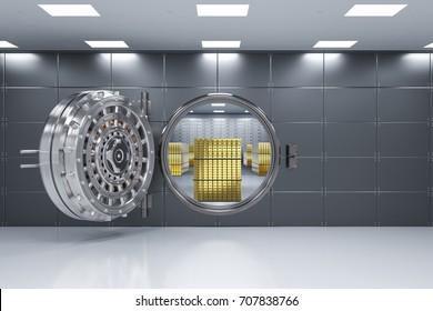 3d rendering bank vault opened with bullion inside