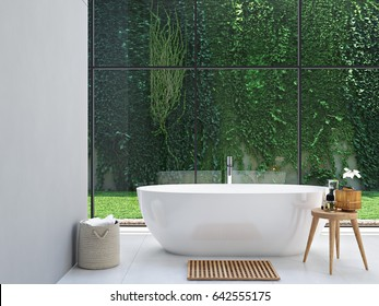 3d rendering. bathroom with green plants in the background.