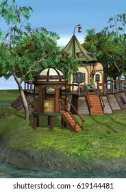 3D rendering of a beautiful fantasy home on green lawn and blue river background