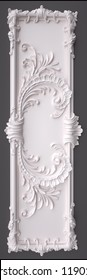 3d rendering beautiful white Gypsum carving decoration of architecture. classic interior detail made of plaster.