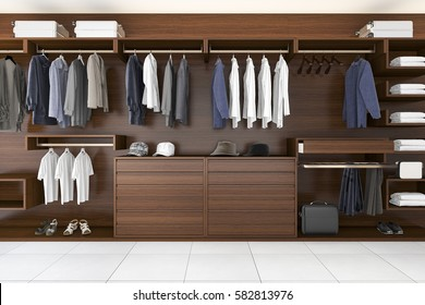 3d rendering beautiful wood horizontal wardrobe and walk in closet