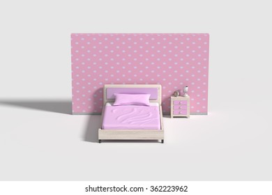 3d rendering of a bedroom interior in white,blue and yellow colors.Illustration