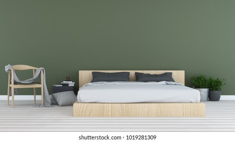 3D rendering Bedroom space interior minimal and wall decoration empty in hotel
