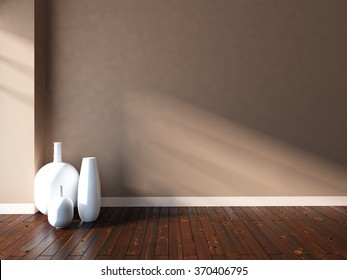 3D rendering of a beige empty interior with white vases
