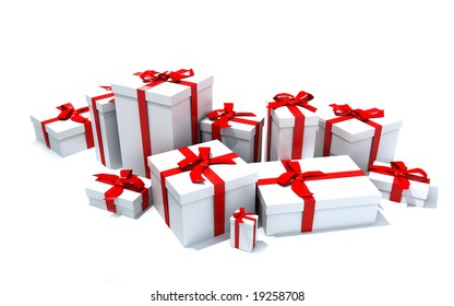 3D rendering of a big group of white gift boxes with red ribbons in different sizes