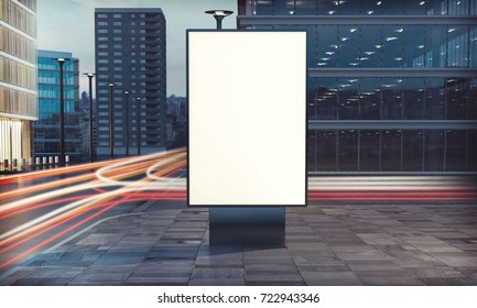 3d rendering of billboard blank for outdoor advertising with long exposure road light trails