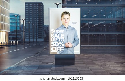 3d rendering of billboard outdoor fashion sales advertising with long exposure road light trails