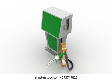 3d rendering of Bio fuel station with dollar sign