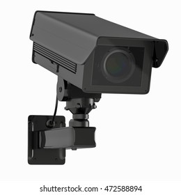 3d rendering black cctv camera or security camera isolated on white