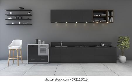3d rendering black kitchen with minimal design room