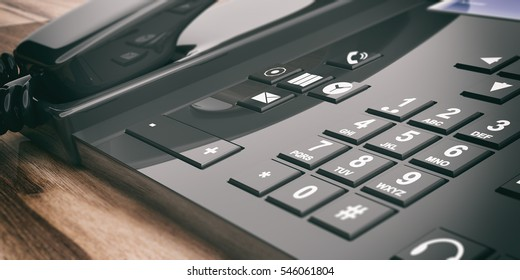 3d rendering black office telephone on wooden background
