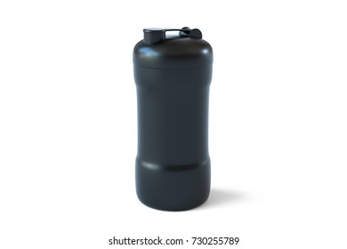 3d rendering of black shaker on white background. Fitness accessories. Kitchenware. Healthy eating.