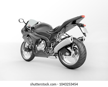 3d rendering of a black sport bike isolated on a white background.