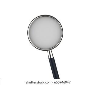 3d rendering black stethoscope isolated on white