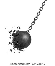 3d rendering of a black swinging wrecking ball crashing into a wall on white background. Loss and destruction. Demolition works. Breaking bounds.