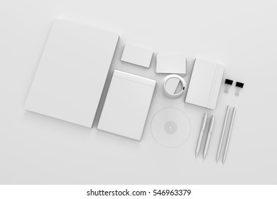 3D rendering Blank corporate identity stationery design set, branding mockup template. Sheets of paper, business cards and etc. For graphic designers presentations and portfolios.
