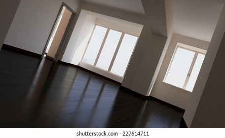 3d rendering. blank interior, biege wall