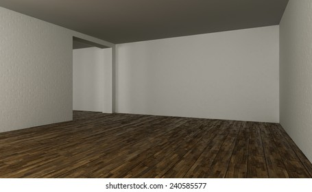 3D rendering. blank interior with brick wall