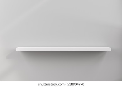 3D rendering of blank shelf at corner