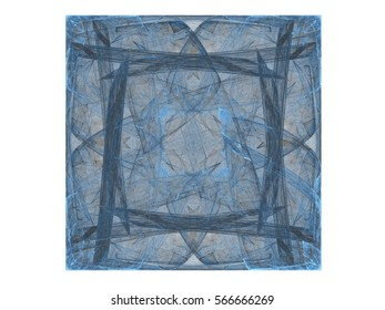 3d rendering with blue abstract fractal pattern.