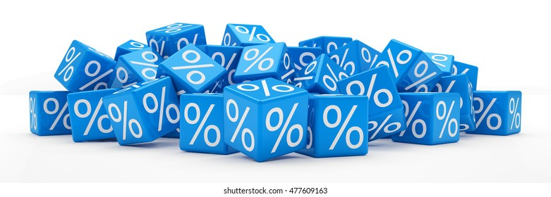 3d rendering of blue cubes with percent signs on white background (sale concept).
