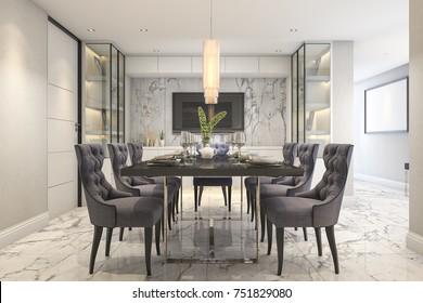 3d rendering blue dining set in modern luxury dining room near door