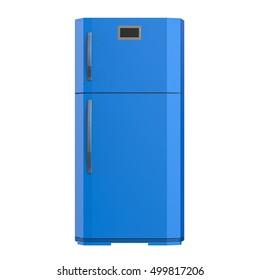 3d rendering blue fridge isolated on white
